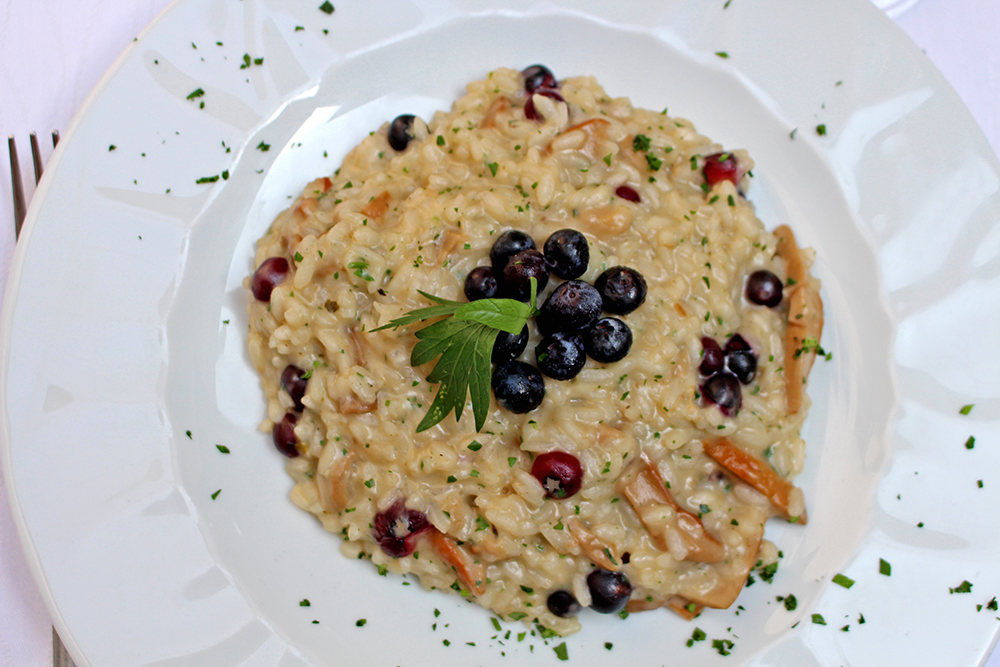 Risotto with porcini mushrooms and blueberries